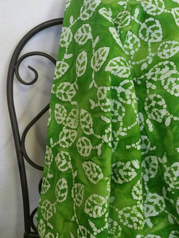 MDG Hand Dyed Batik with Bright Green Background Highlighted with White Leaves for Quilting, Crafting, Sewing Projects Free Shipping