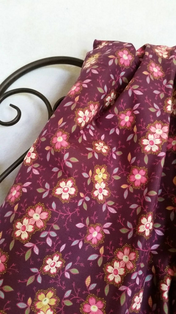 Free Shipping By The Yard 100 Percent Quilting Cotton with Wine Colored Background, Quilting, Sewing, Crafting Fabric