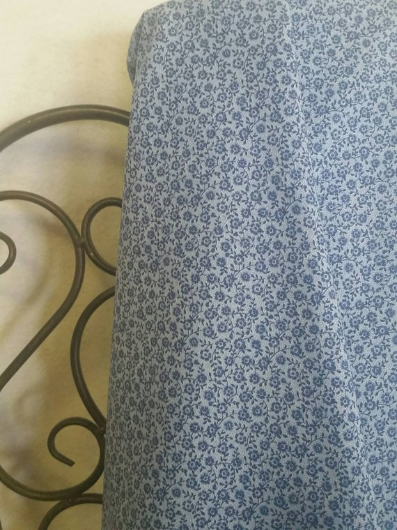 VIP by Cranston Print Works La-Annabella Dark Blue Small Flowers on Light Blue Dotted Background 100% Cotton Free Shipping