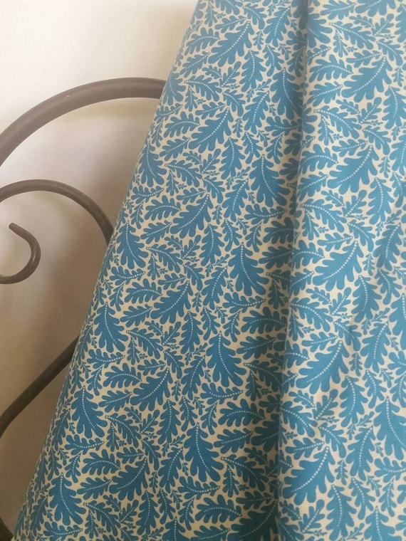 MDG Ice Blue Oak Leaves on Light Tan Background 100 Percent Cotton Quilting Crafting Fabric Free Shipping