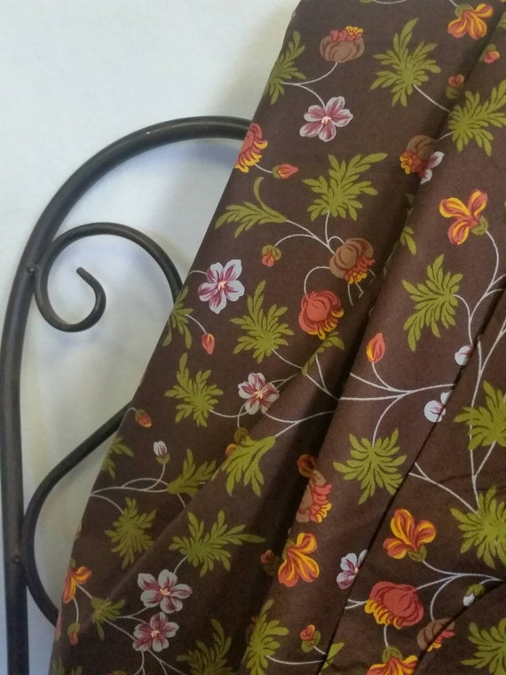 Free Shipping Quilting Fabric, 100 Percent Cotton, Dargate Vines by Margo Krager Avocado, Brown, Flowers Crafting Sewing and Quilting