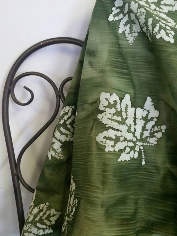 MDG Batik Puckered Dark Green Background with White Textured Maple Leaves Cotton Fabric for Quilting, Sewing and Crafting Free Shipping