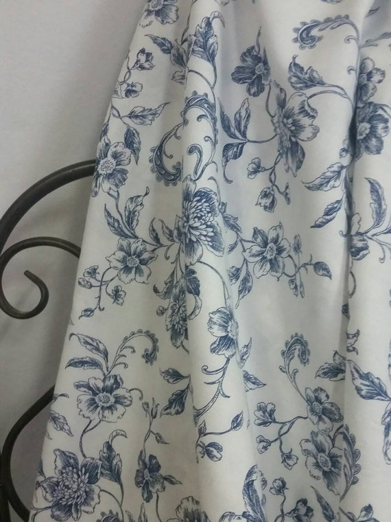"""Robert Kaufman Whisper Prints in Navy Blue Flowers on White Background 54"""" wide Cotton Fabric for Quilting and Crafting Free Shipping"""
