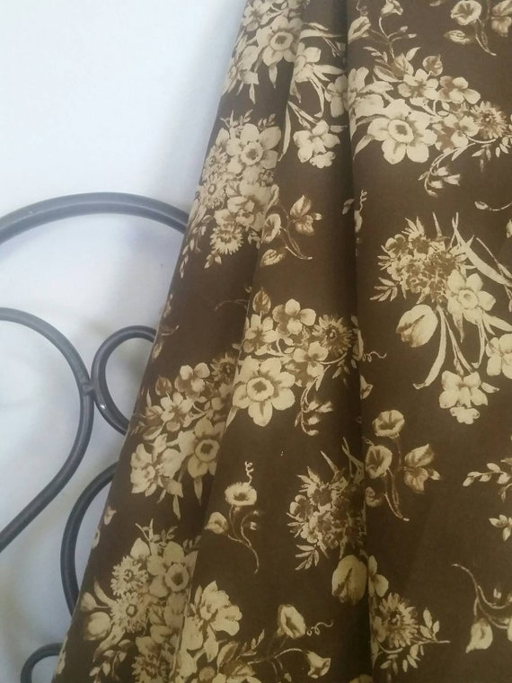 """Dark Brown Background With Tan Sprays of Flowers MDG 100 Percent Quilting and Crafting Fabric 54"""" Wide for Quilt LInings Free Shipping"""