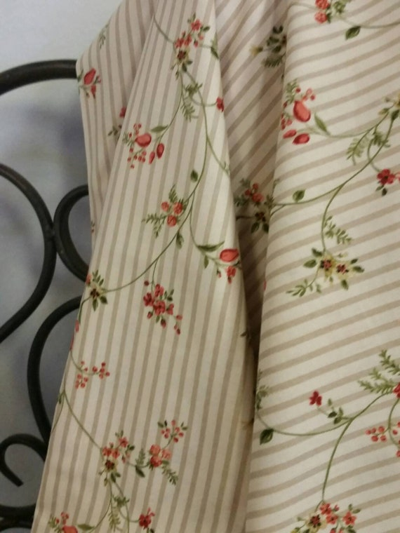 RJR Fabrics Amelia By Yukon Hasegawa Roses and Buds on a Green Vine set on a Light Eggshell Background With Taupe Stripes Free Shipping