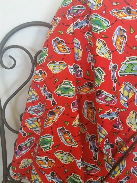 MDG Speed Racer Cars Red Green Yellow Children's Fabric in 100 percent Cotton Free Shipping