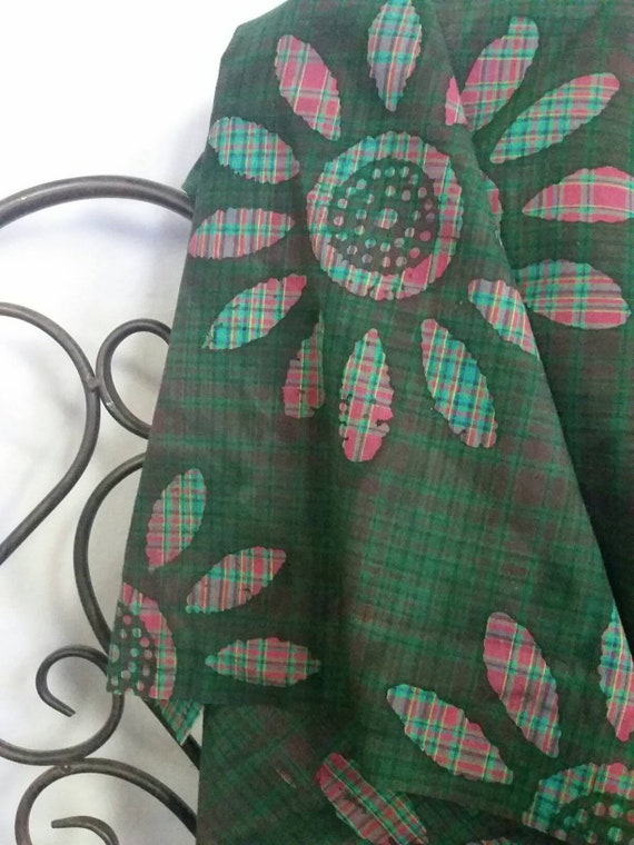 MDG Green Background Flower Motif Dyed Batik Cotton Fabric with Aqua and Pink Highlights Quilting and Crafting Free Shipping