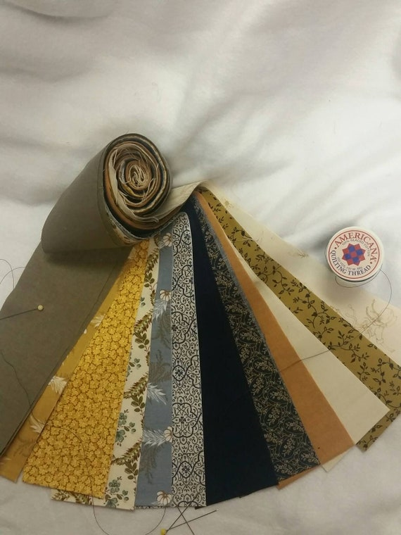 Civil War Inspired Jelly Roll Grouping of 12 Fabrics Kona Bay, Windham, Penny Rose, Andover Crafting and Quilting 100 Percent Cotton Strips