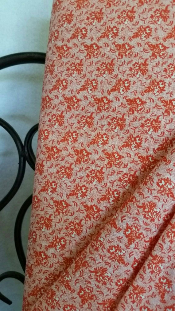 Free Shipping Quilting Fabric, 100 Percent Cotton Orange Flowers on White Background