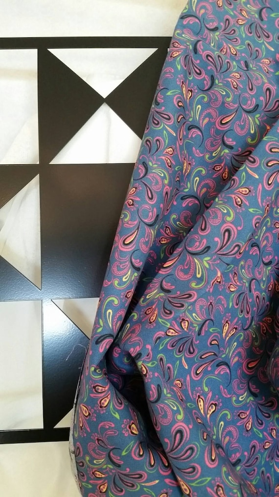 Free Shipping Quilting Fabric, 100 Percent Cotton Purple with Teal Accents By the Yard Fabric