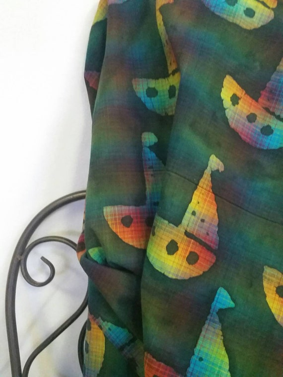 """MDG 54"""" wide Hand Dyed Batik Dark Green Background with Yellow Orange Aqua Highlighted Sail Boats for Quilting Crafting Free Shipping Fabric"""