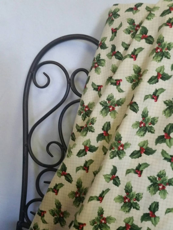Free Shipping Quilting Fabric, 100 Percent Cotton, Crimson & Holly - Wilmington Prints, Holly Berries and Leaves for Christmas Crafts