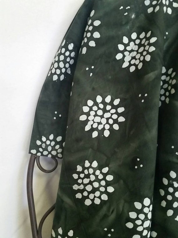 MDG Hand Dyed Batik with Black Background with White Abstract Flower Design Quilting, Crafting, Sewing Project Fabric Free Shipping