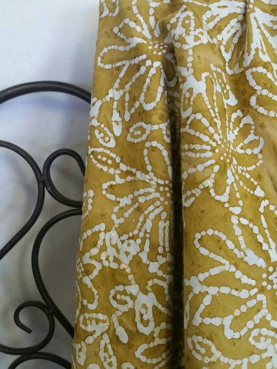 MDG Hand Dyed Batik Eyelet Fabric Dark Mustard Background With White Flower Design for Quilting, Crafting, Sewing Projects Free Shipping