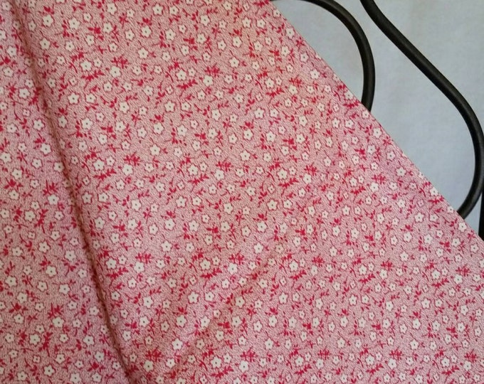 100 Percent Quilting Cotton Dainty White and Red Flowers on a  White Background