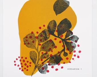 "Lyndie Dourthe's linocut print and ""Herbarium"" typography"