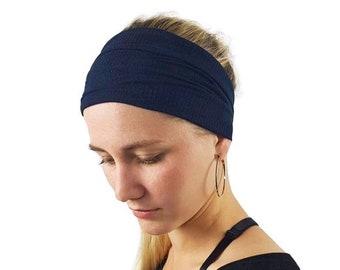 c45af86df923 Navy Headband for women- Wide yoga headband - Scrunch headband