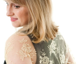 Gold, Champagne lace bolero shawl, four colours to choose, Made in England, Bridal, Evening wear, Made in England. FREE UK DELIVERY