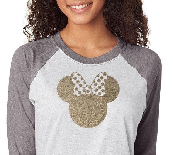 Minnie Gold or Silver Glitter Shirt Trebled 3 4 Sleeve Raglan  6dd3545aaab1