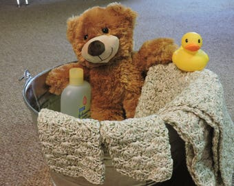 COUNTRY NATURAL Baby Bath Towel w/ 2 Washcloths - Ready to Ship
