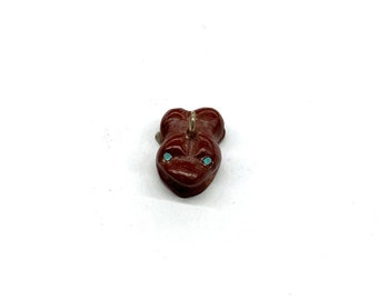 LIMITED QUANTITY Lot of 2 A3-7-01 Vintage Hand Carved Black Stone Frog Fetish Beads 2041656 Animal Beads