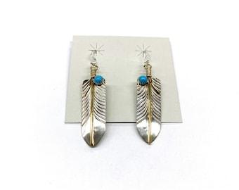 Unikite Feather Earrings Zuni bear Hippi Dangle Earrings Gold Native Boho Tribal