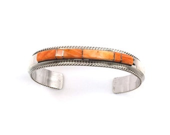 Handmade Native American Navajo Sterling Silver Inlay Spiny Oyster Cuff Bracelet