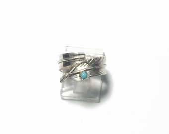 Handmade Native American Adjustable Sterling Silver Turquoise Handmade Navajo Feather Ring