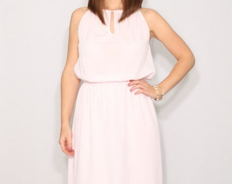736a9ce1f1 Pale pink dress Prom dress Short chiffon dress for bridesmaid Keyhole dress