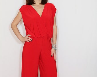 96012682859 Red wide leg jumpsuit women Red wrap top jumpsuit Red summer jumpsuit