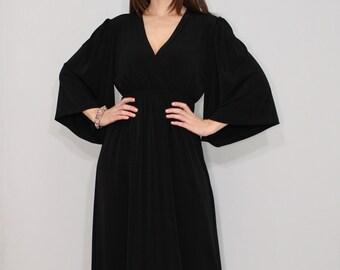Black kimono dress, black maxi dress, long black dress, long black kimono