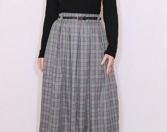 Gray plaid skirt Wool skirt Tartan skirt Women maxi skirt High waisted maxi skirt with pockets