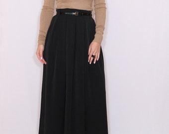Black wool skirt Women long skirt High waisted maxi skirt with pockets A line wool skirt