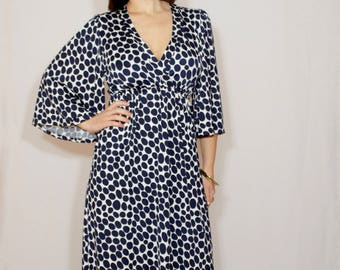 Navy polka dot dress Long dress Kimono maxi dress summer Women