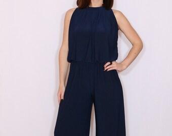 Jumpsuit navy blue Halter top  Wide leg pants Bohemian clothing Handmade Sleeveless jumpsuit