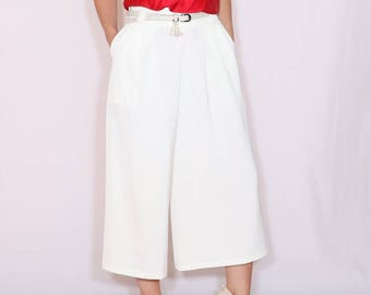 White culottes Mid calf pants High waist Wide leg capris with pockets Summer shorts