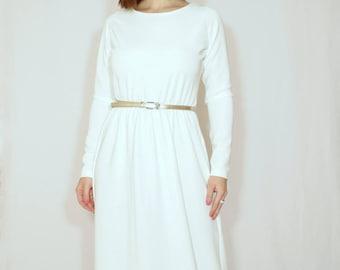 Long white dress White Maxi dress with sleeves Elegant dress