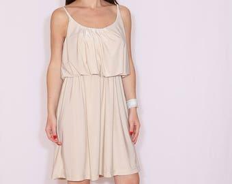 3c934e37b0e Size L - Last size - Beige bridesmaid dress short Boho dress Sundress  Summer dress Prom dress Casual dress