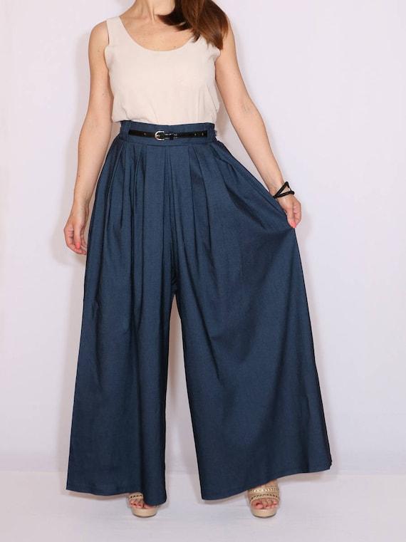 Pantalones Palazzo Jeans Azules Jeans Azules Para Mujer Etsy