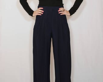 Navy pants Wide leg pants with pockets Women trousers Dark blue trousers