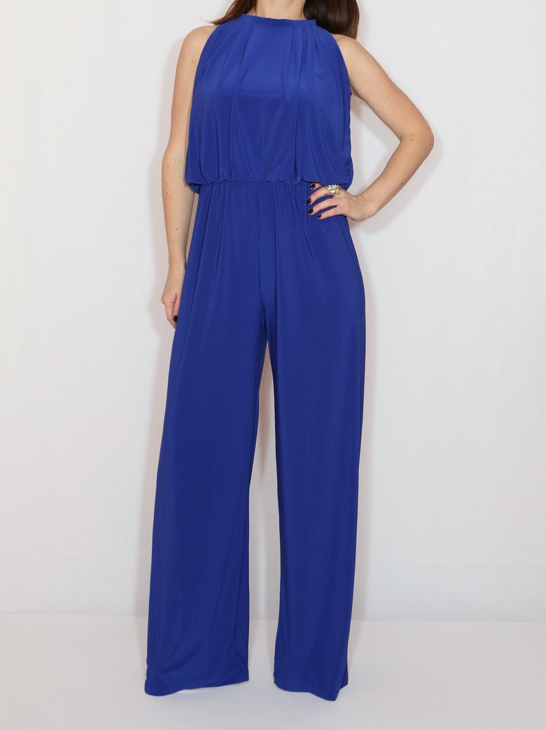 3d0dcb315a82 Royal blue jumpsuit halter top jumpsuit wide leg jumpsuit