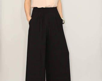 Boho pants with pockets, wide leg pants, high waist pants, black pants