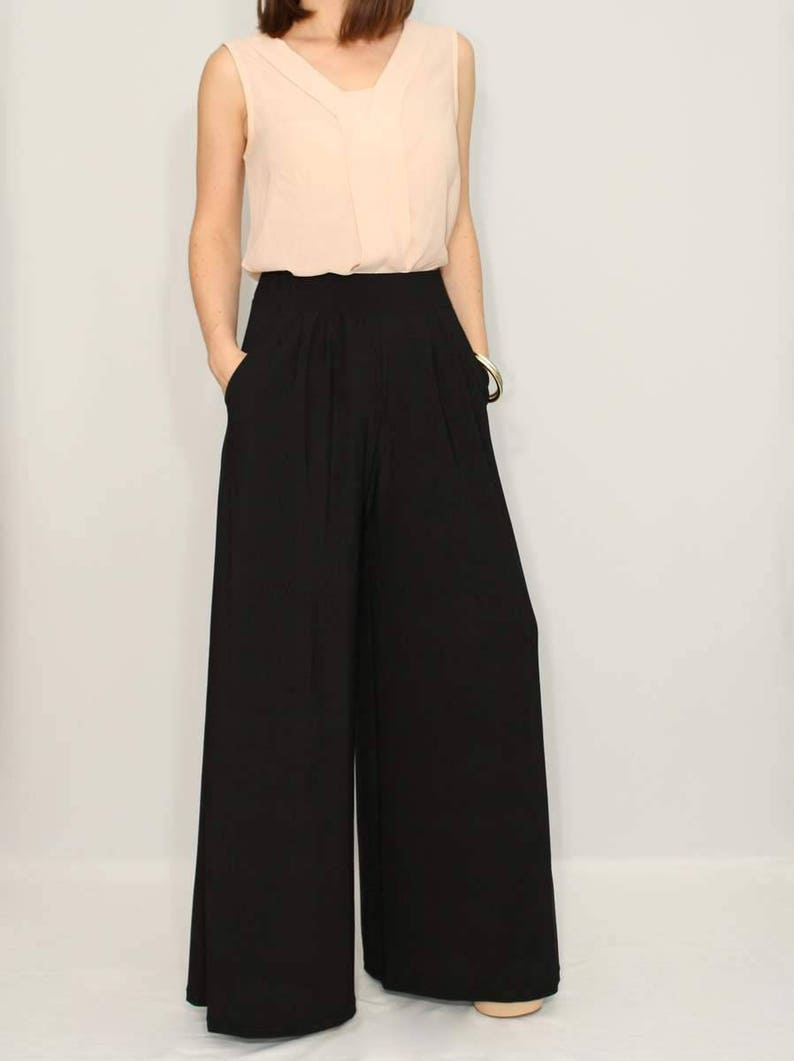 Black boho pants wide leg pants image 0