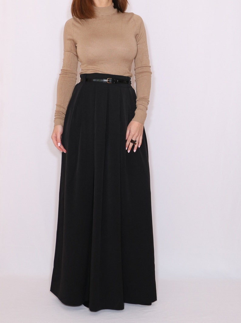 Black long wool skirt with pockets black wool maxi skirt image 0