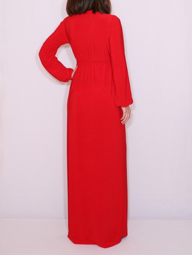 long sleeve maxi dress red long dress empire waist dress Red maxi dress
