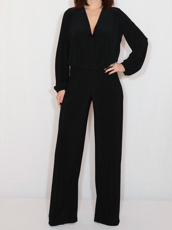 Black Rivet Grenadine Plus Size Long Sleeve Wide Leg Long Jumpsuit