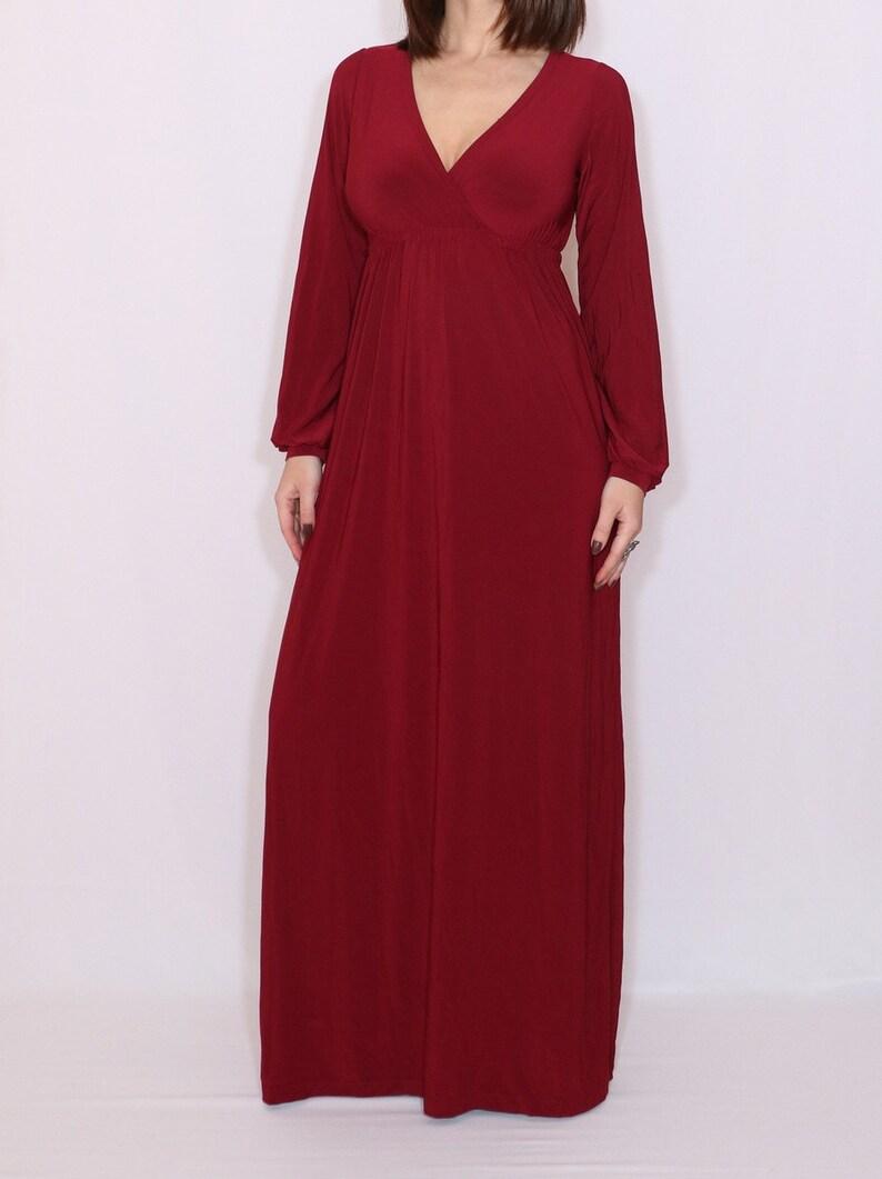 78abb3ae6ed Robe Bordeaux robe à manches longues robe Maxi robe taille