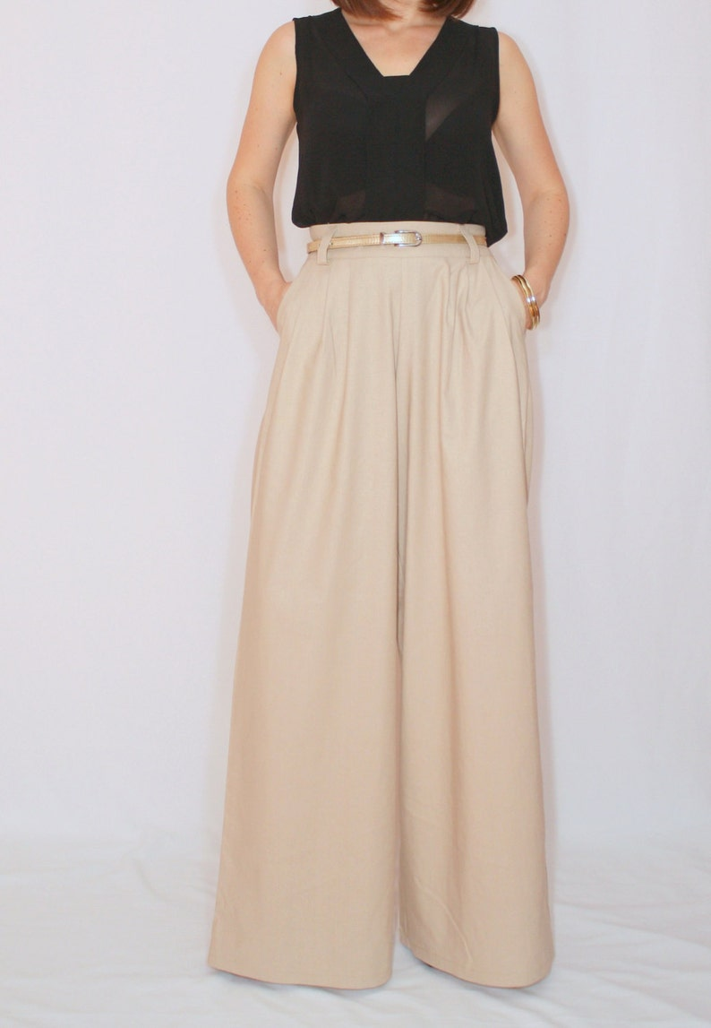 1960s Style Clothing & 60s Fashion Beige linen wide leg pants with pockets wide leg trousers formal pants $65.00 AT vintagedancer.com