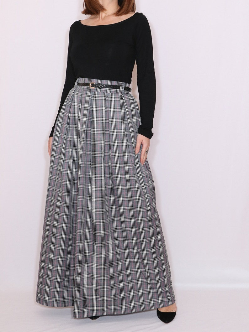 60s Pants, Jeans, Hippie, Flares, Jumpsuits     Grey plaid maxi skirt with pockets long tartan skirt  high waist skirt $83.00 AT vintagedancer.com