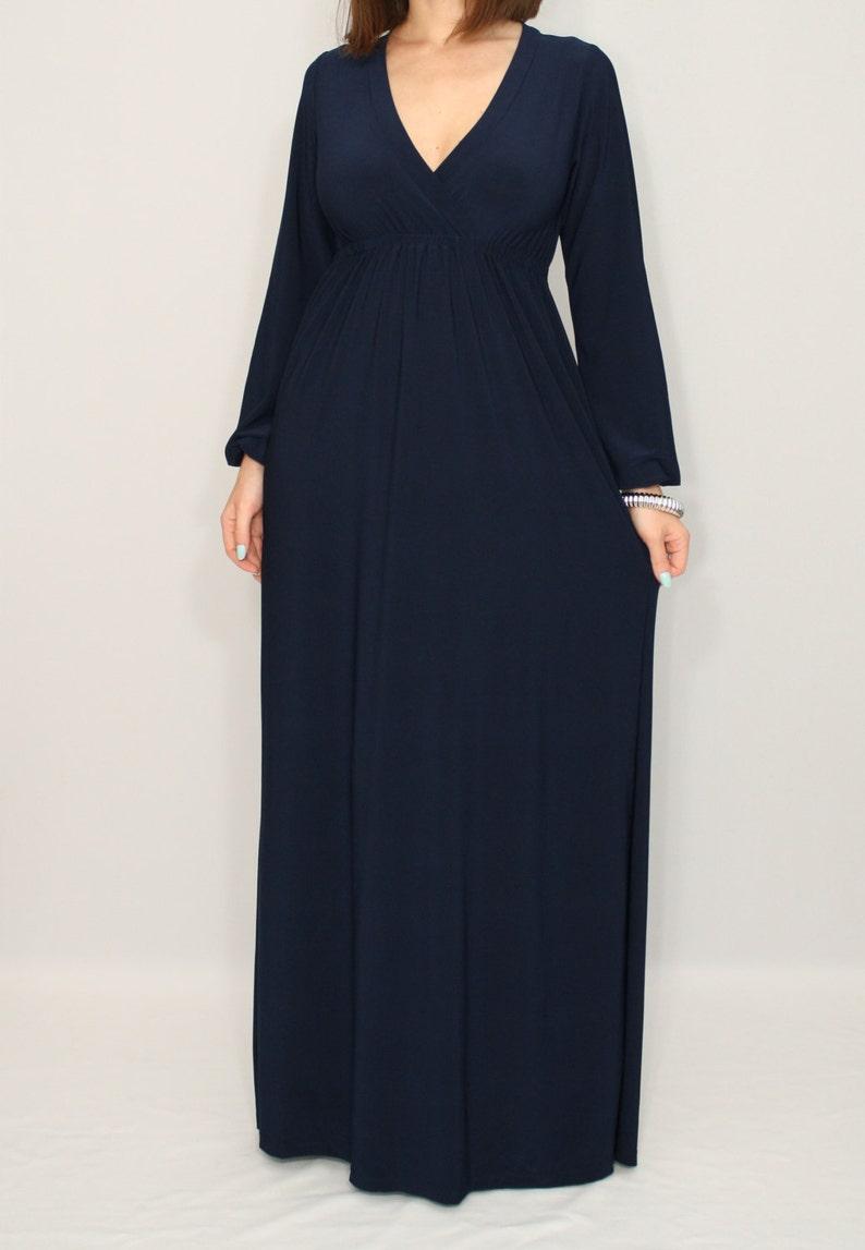 Lang Ärmel maxi Kleid dunkelblaues Kleid Empire Taille Navy langes Kleid  Frauen Kleid Vneck Kleid